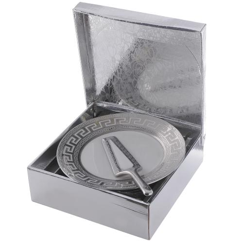Сервиз за торта Версаче-сребро на ниска цена от MaxShop