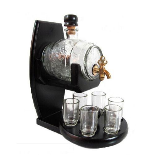 Стъклена бъчва с 6 чаши на ниска цена от MaxShop