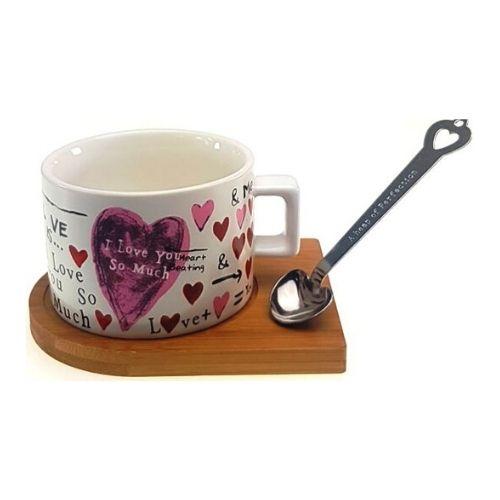 Чаша с дървена чинийка и магнитна лъжичка на ниска цена от MaxShop