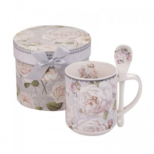 Чаша с лъжичка бяла роза New Wish Studio Porcelain на ниска цена от MaxShop