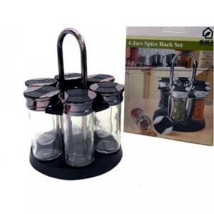 Комплект стъклени съдове за подправки на стойка