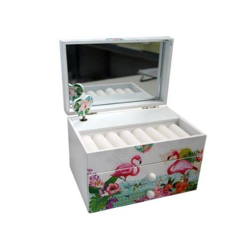 Дървена музикална кутия за бижута Фламинго на ниска цена от MaxShop