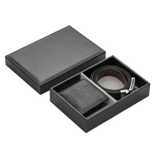 Мъжки комплект портфейл и колан от естествена кожа 110 см. SILVER FLAME