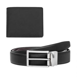 Мъжки комплект портфейл и колан от естествена кожа 115 см.
