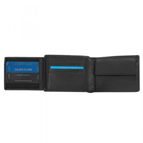 Луксозен сет от портфейл и колан 110 см. - SILVER FLAME на ниска цена от MaxShop