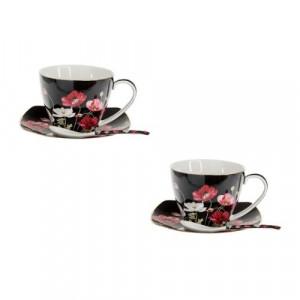 Комплект две чаши за чай с чинийки и лъжички - Черни макове