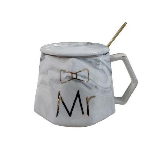 Чаша с капак и лъжичка Mr на ниска цена от MaxShop