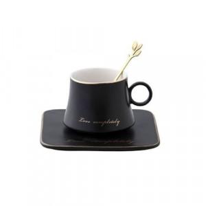 Чаша, чинийка, лъжичка Black Love 160 мл